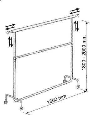 Stojak z 2 poprzeczkami 150cm - ustawialny