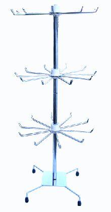 Trzypiętrowy stojak na biżuterię chromowany 70cm